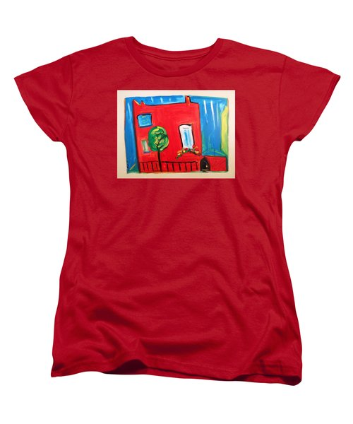 Women's T-Shirt (Standard Cut) featuring the painting A House With A Smile To Give by Mary Carol Williams