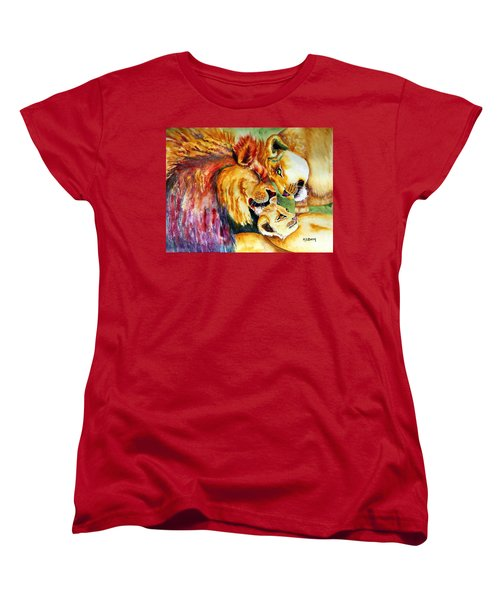 Women's T-Shirt (Standard Cut) featuring the painting A Lion's Pride by Maria Barry