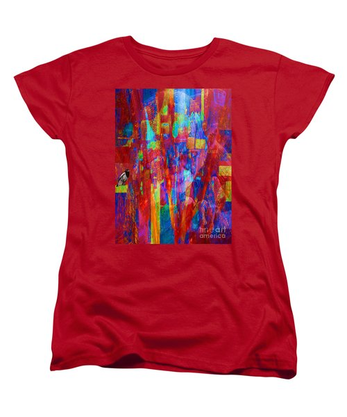 Women's T-Shirt (Standard Cut) featuring the painting A Magpie At Wallstreet by Mojo Mendiola
