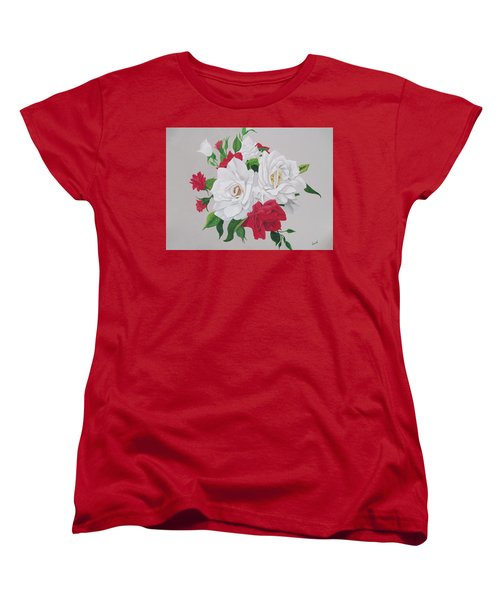 A New Rose Bouquet Women's T-Shirt (Standard Cut) by Hilda and Jose Garrancho