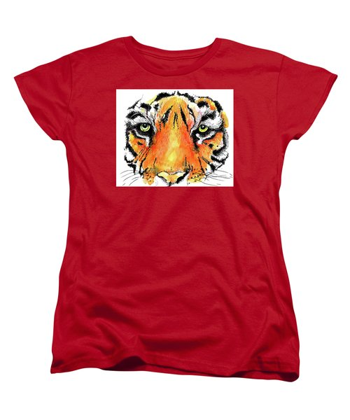 Women's T-Shirt (Standard Cut) featuring the painting A Nice Tiger by Terry Banderas