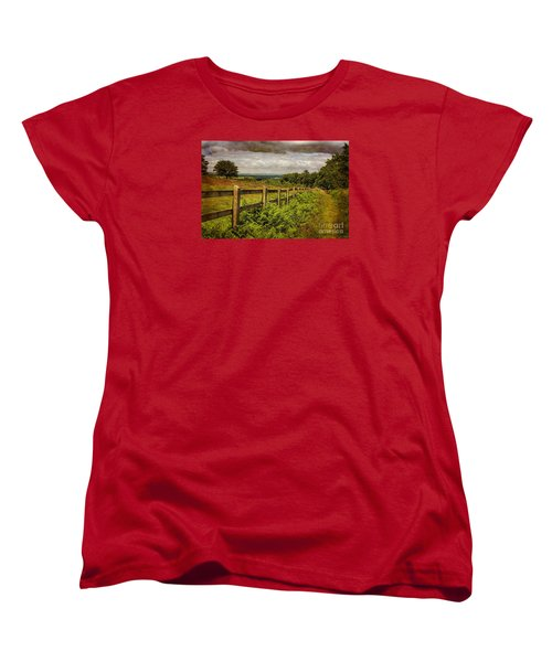 Women's T-Shirt (Standard Cut) featuring the photograph A Path From  A Hill by Linsey Williams