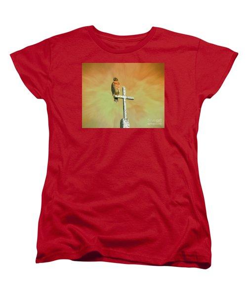 Women's T-Shirt (Standard Cut) featuring the photograph A Powerful Perch by Myrna Bradshaw
