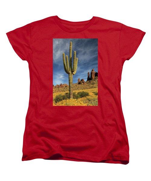 A Saguaro In Spring Women's T-Shirt (Standard Cut) by James Eddy