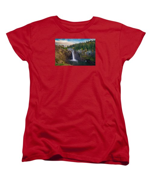 A Snoqualmie Falls  Autumn Women's T-Shirt (Standard Cut) by Ken Stanback