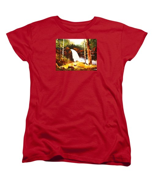Women's T-Shirt (Standard Cut) featuring the painting A Spout In The Forest Ll by Al Brown