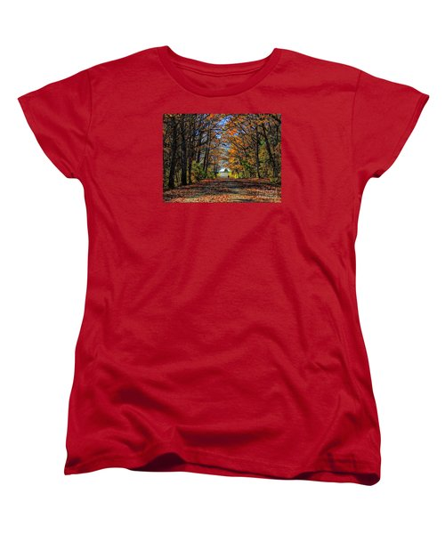 A Stroll Through Autumn Colors Women's T-Shirt (Standard Cut) by Marcia Lee Jones