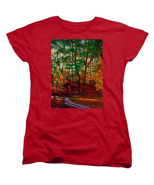 Women's T-Shirt (Standard Cut) featuring the painting A Walk In The Park by Emery Franklin