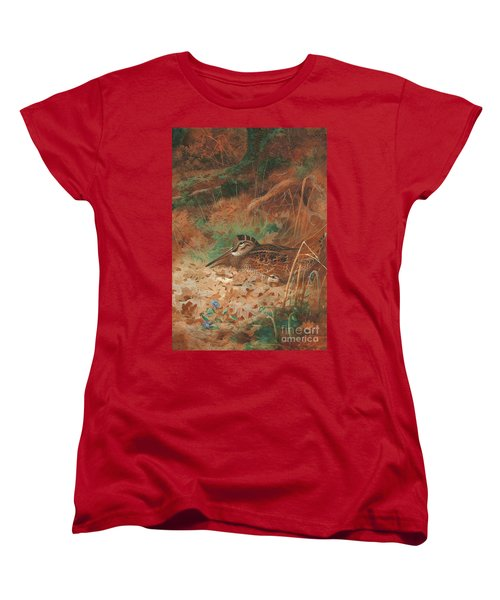 A Woodcock And Chick In Undergrowth Women's T-Shirt (Standard Cut) by Archibald Thorburn