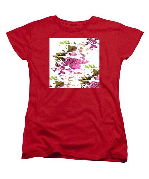 Abstract Acrylic Painting Broken Glass Purple And Green Women's T-Shirt (Standard Cut)
