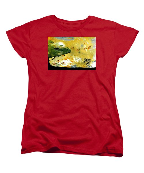 Abstract Acrylic Painting Spring Dance Women's T-Shirt (Standard Cut) by Saribelle Rodriguez