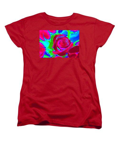 Abstract Burgundy Roses Women's T-Shirt (Standard Cut) by Karen J Shine