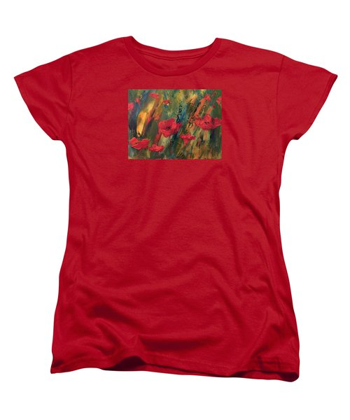 Women's T-Shirt (Standard Cut) featuring the painting Abstract Poppies by Kristine Bogdanovich