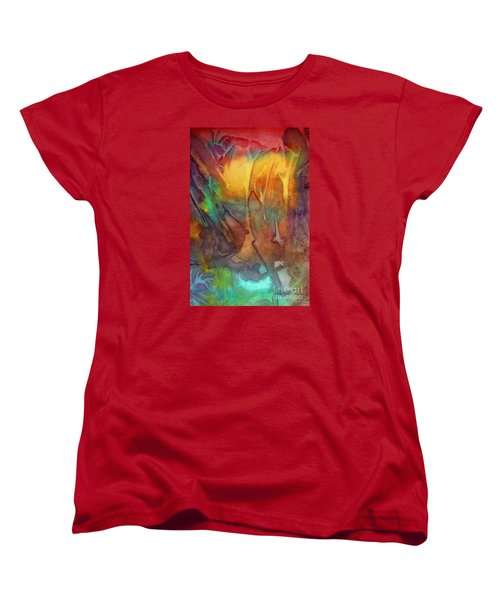 Women's T-Shirt (Standard Cut) featuring the painting Abstract Reflection by Allison Ashton