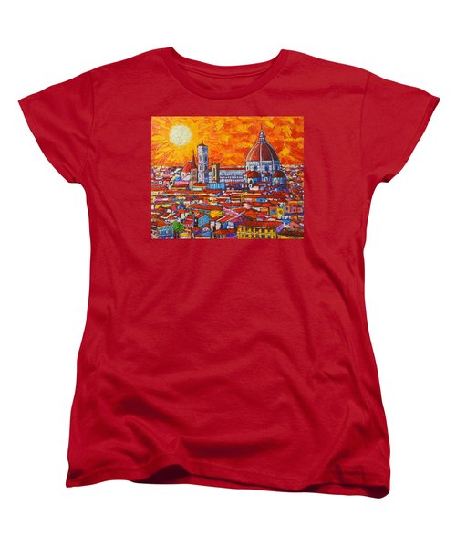 Abstract Sunset Over Duomo In Florence Italy Women's T-Shirt (Standard Cut) by Ana Maria Edulescu
