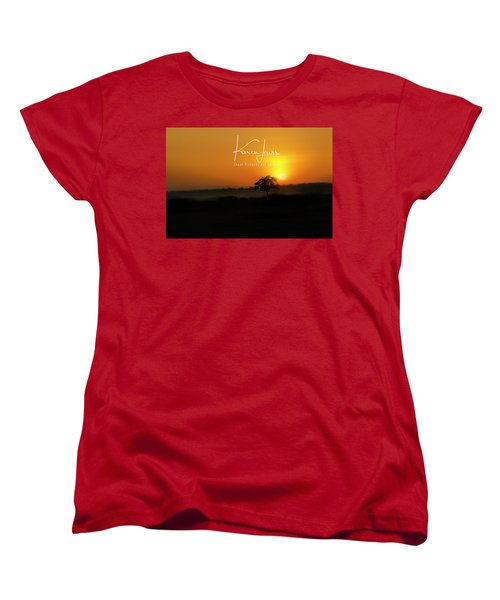 Women's T-Shirt (Standard Cut) featuring the photograph Acacia Tree Sunrise by Karen Lewis