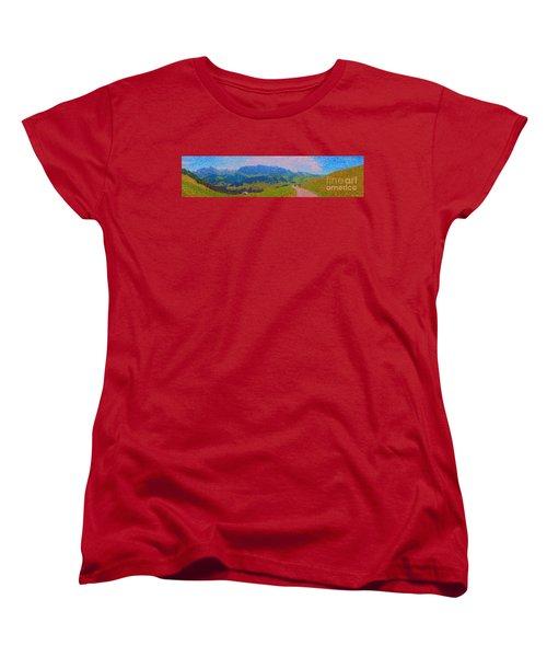 Adelboden Panoramic Women's T-Shirt (Standard Cut) by Gerhardt Isringhaus