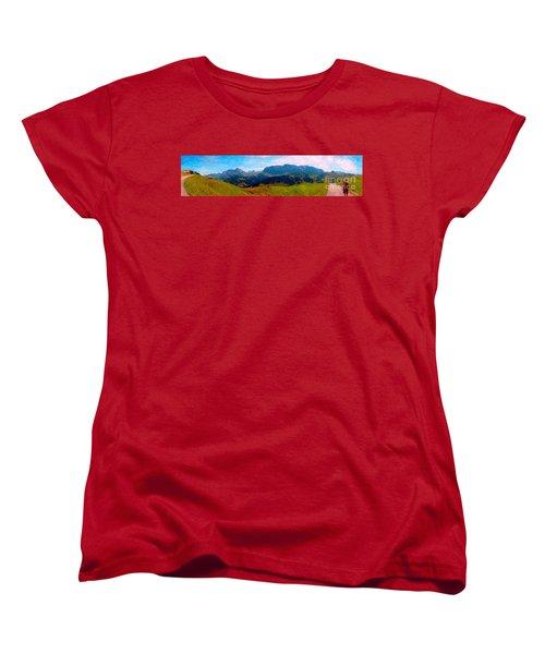 Adelboden With Hiker Women's T-Shirt (Standard Cut) by Gerhardt Isringhaus