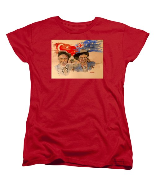 Women's T-Shirt (Standard Cut) featuring the painting Adil Sahin And Len Hall by Ray Agius
