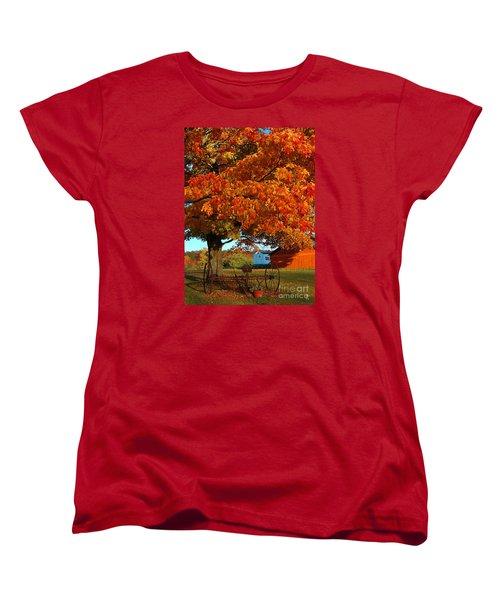 Women's T-Shirt (Standard Cut) featuring the photograph Adirondack Autumn Color by Diane E Berry
