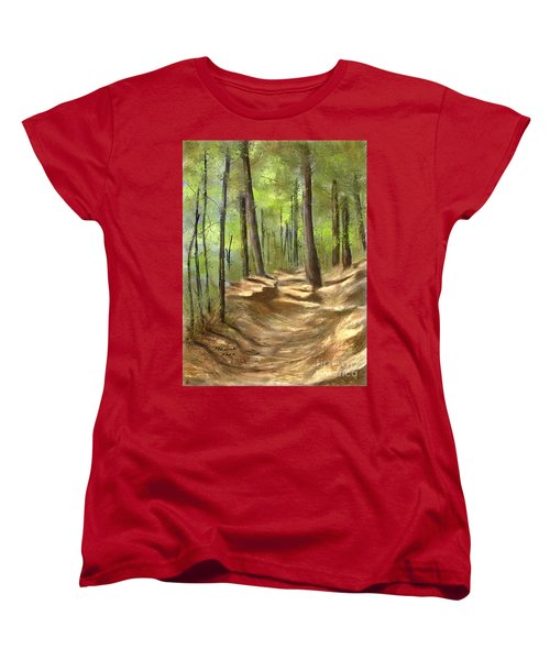 Women's T-Shirt (Standard Cut) featuring the painting Adirondack Hiking Trails by Judy Filarecki
