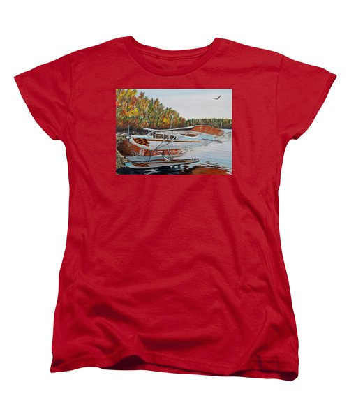 Women's T-Shirt (Standard Cut) featuring the painting Aeronca Super Chief 0290 by Marilyn  McNish
