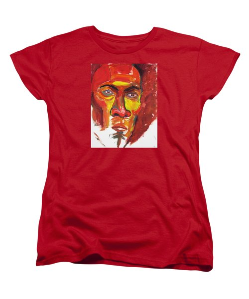 Women's T-Shirt (Standard Cut) featuring the painting Afro by Shungaboy X