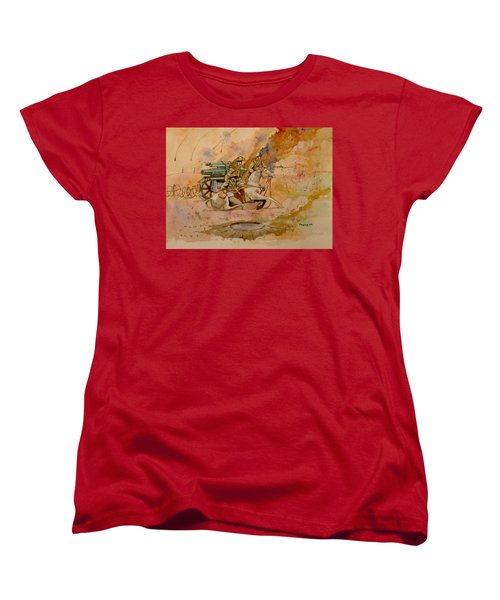 Women's T-Shirt (Standard Cut) featuring the painting After The Charge by Ray Agius