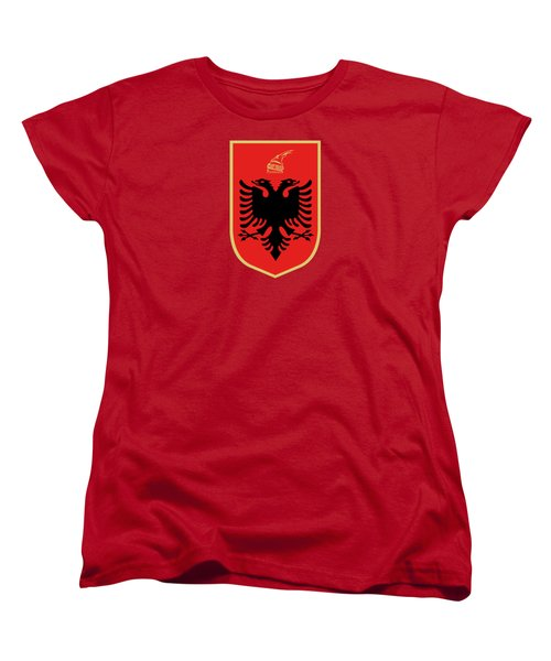 Women's T-Shirt (Standard Cut) featuring the drawing Albania Coat Of Arms by Movie Poster Prints
