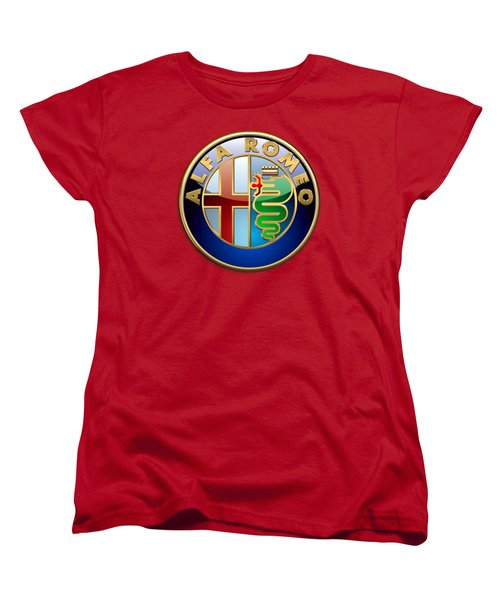 Alfa Romeo - 3d Badge On Red Women's T-Shirt (Standard Cut) by Serge Averbukh