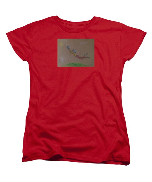 Women's T-Shirt (Standard Cut) featuring the drawing Alien Chasing His Dreams by Similar Alien