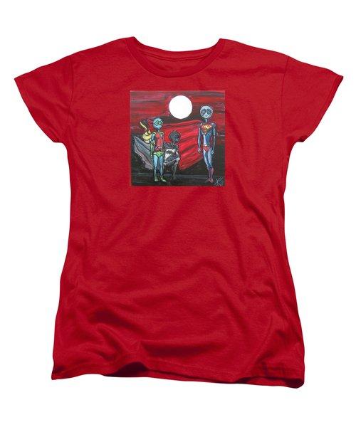 Women's T-Shirt (Standard Cut) featuring the painting Alien Superheros by Similar Alien