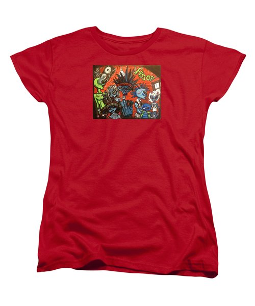 Women's T-Shirt (Standard Cut) featuring the painting Aliens With Nefarious Intent by Similar Alien