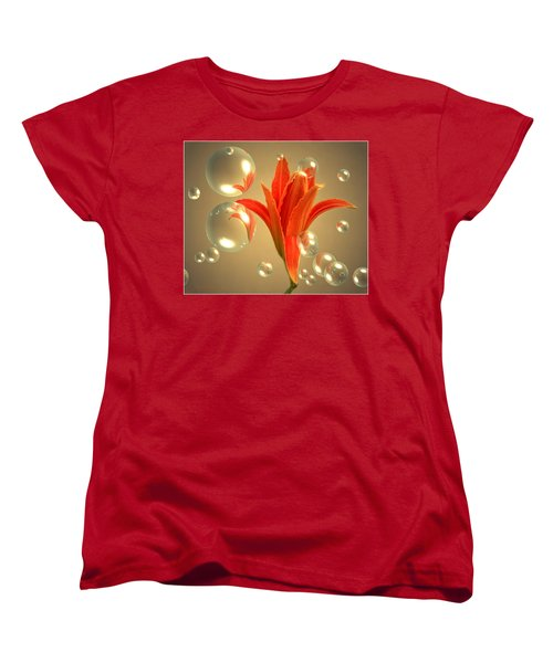 Women's T-Shirt (Standard Cut) featuring the photograph Almost A Blossom In Bubbles by Joyce Dickens