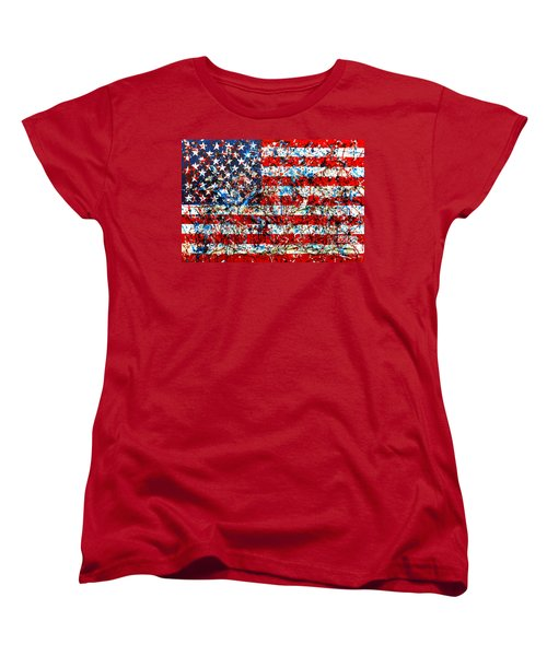 Women's T-Shirt (Standard Cut) featuring the painting American Flag Abstract With Trees by Genevieve Esson