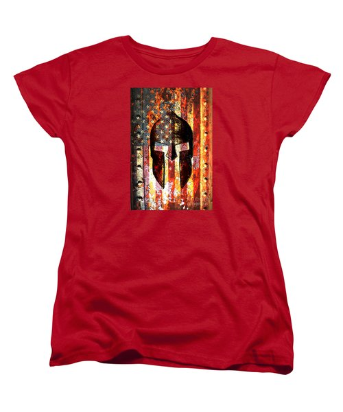 American Flag And Spartan Helmet On Rusted Metal Door - Molon Labe Women's T-Shirt (Standard Cut) by M L C
