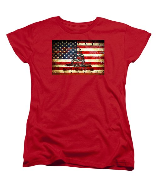 American Flag And Viper On Rusted Metal Door - Don't Tread On Me Women's T-Shirt (Standard Cut) by M L C