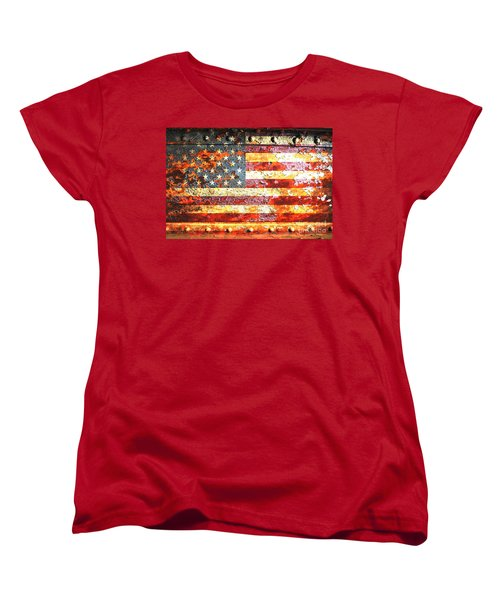 American Flag On Rusted Riveted Metal Door Women's T-Shirt (Standard Cut) by M L C