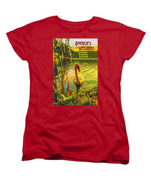 Women's T-Shirt (Standard Cut) featuring the digital art America's Wetlands by Chuck Mountain