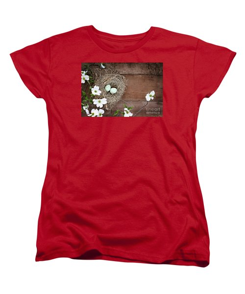 Amid The Dogwood Blossoms Women's T-Shirt (Standard Cut) by Stephanie Frey