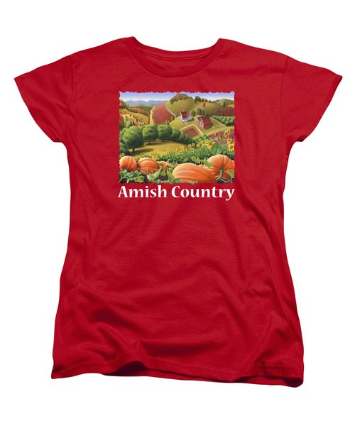 Amish Country T Shirt - Appalachian Pumpkin Patch Country Farm Landscape 2 Women's T-Shirt (Standard Cut) by Walt Curlee