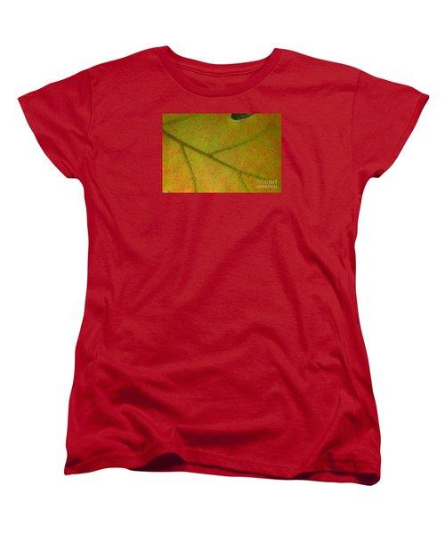 Women's T-Shirt (Standard Cut) featuring the photograph An Autumn Leaf by Jean Bernard Roussilhe