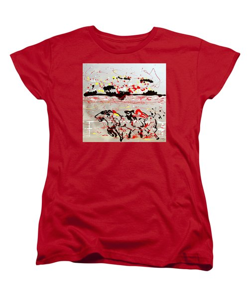 Women's T-Shirt (Standard Cut) featuring the mixed media And Down The Stretch They Come by J R Seymour