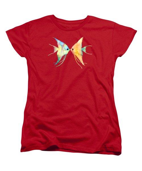 Angelfish Kissing Women's T-Shirt (Standard Cut) by Hailey E Herrera