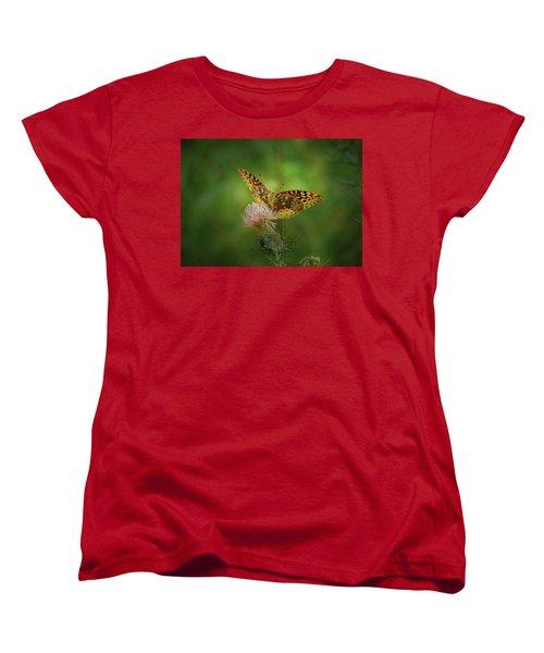 Women's T-Shirt (Standard Cut) featuring the photograph Aphrodite Fritillary Butterfly by Sandy Keeton