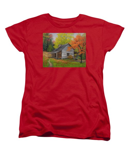 Women's T-Shirt (Standard Cut) featuring the painting Appalachian Retreat-autumn by Kyle Wood