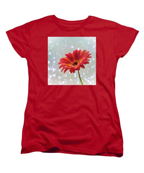 Women's T-Shirt (Standard Cut) featuring the photograph April Showers Gerbera Daisy Square by Terry DeLuco