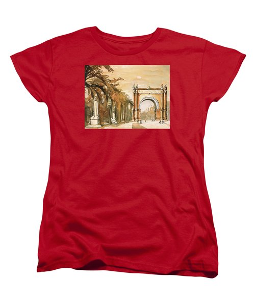 Women's T-Shirt (Standard Cut) featuring the painting Arch- Barcelona, Spain by Ryan Fox