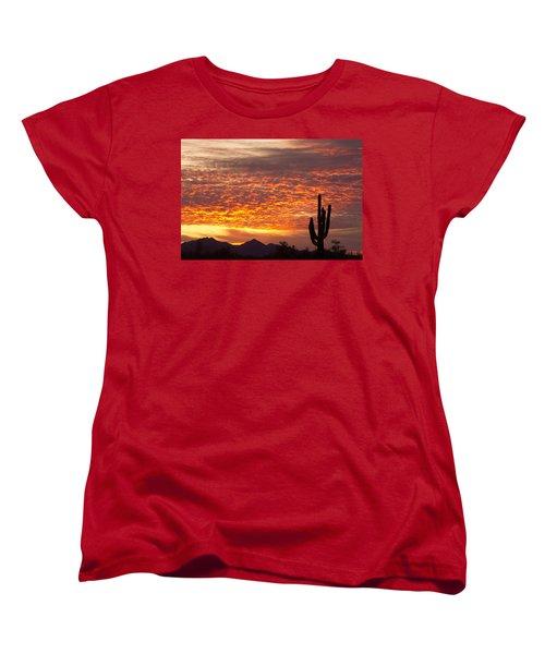 Arizona November Sunrise With Saguaro   Women's T-Shirt (Standard Cut) by James BO  Insogna