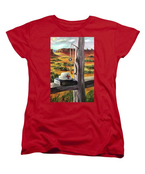 Women's T-Shirt (Standard Cut) featuring the painting Arizona The Nurse And Hope by Randol Burns